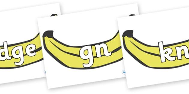 Silent Letters on Bananas - Silent Letters, silent letter, letter blend, consonant, consonants, digraph, trigraph, A-Z letters, literacy, alphabet, letters, alternative sounds