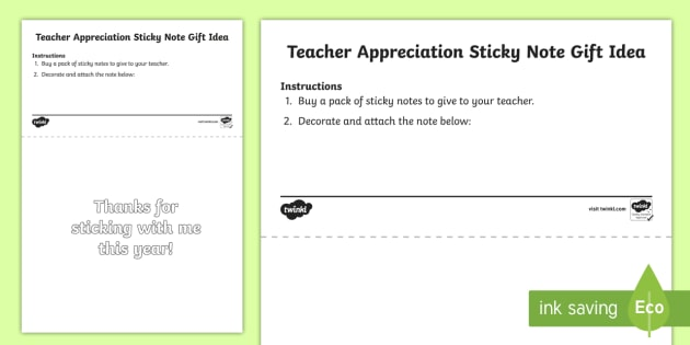 Teacher Appreciation Sticky Note Gift Tag Template  Teacher