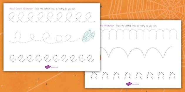 Halloween Pencil Control Worksheet - fine motor skills, american, US, fun, activity, writing