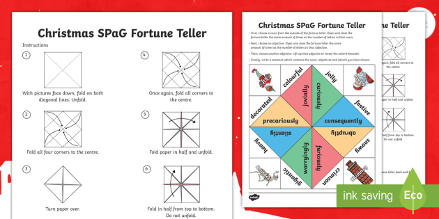Christmas SPaG Fortune Teller Template - chatterbox, paper