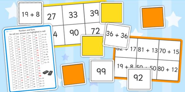 Maths Addition up to 100 Bingo and Lotto Pack - maths, bingo