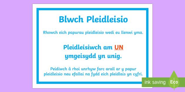 Arwydd Blwch Pleidleisio Y Cyngor Ysgol - cyngor, ysgol. pleidleisio, ethol, etholliad,Welsh - cyngor, ysgol. pleidleisio, ethol, etholliad, Welsh