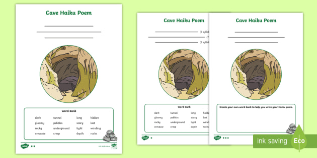 New Cave Haiku Poem Differentiated Activity Sheets
