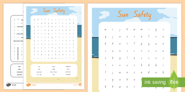 Sun Safety Word Search