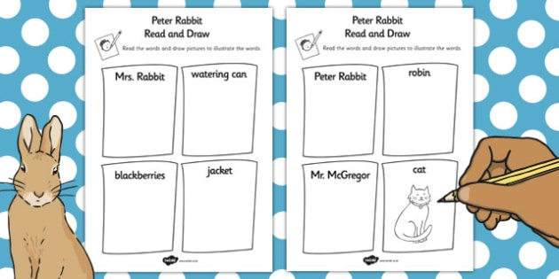 The Tale of Peter Rabbit Read and Draw Worksheet - peter rabbit