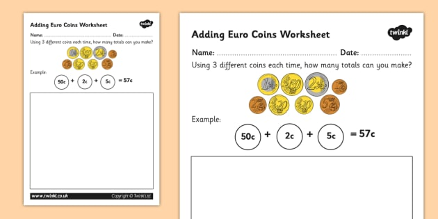 Adding Euro Coins Worksheet