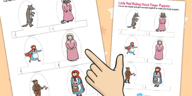 Little Red Riding Hood Finger Puppets - finger, puppets, riding