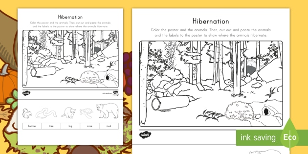 hibernation cut and color worksheet worksheet fall science hibernation. Black Bedroom Furniture Sets. Home Design Ideas