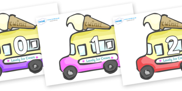 Numbers 0-50 on Ice Cream Vans - 0-50, foundation stage numeracy, Number recognition, Number flashcards, counting, number frieze, Display numbers, number posters