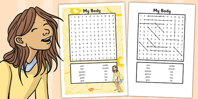 French My Body Word Search - french, my body, wordsearch, word