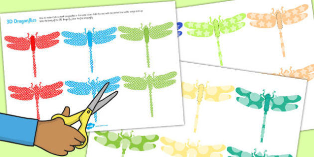 Printable Patterned Dragonfly 3D Wall Decals - printable, dragonfly, 3d
