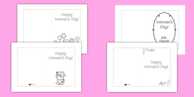 Women's Day Card Templates Colouring - womens day, card templates, colouring, colour, womens history month, women