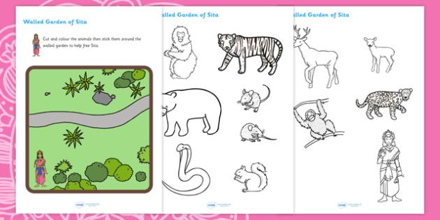 Diwali Colour and Stick Animals into Sita's Walled Garden Activity - diwali, colour and stick, cut and stick, colouring, colouring activities, diwali activities, diwali game