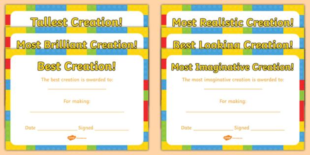 building brick creation award certificates