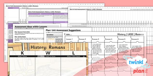 History: The Romans LKS2 Unit Assessment Pack