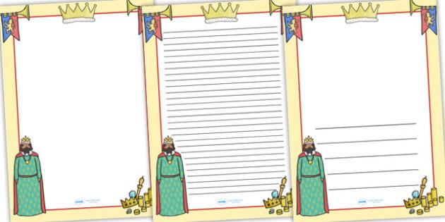 King Themed Page Borders - king, page borders, borders, writing