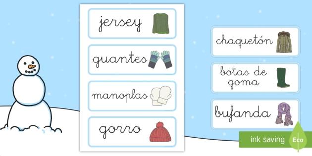 Tarjetas de vocabulario: La ropa invernal - invierno, ropa, inveral, vocabulario invierno, vocabulario invernal, armario,Spanish