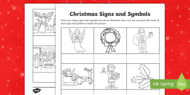 Christmas Signs and Symbols Word and Picture Matching Worksheet / Activity Sheet-Australia