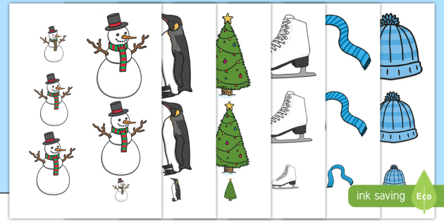 Winter Size Ordering - winter, size ordering, seasons, size ordering activities, size activity, shape activity, size and shape, size, shape, ordering
