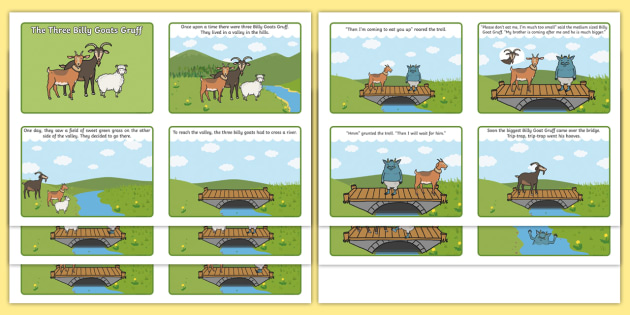 The Three Billy Goats Gruff Story Sequencing (4 per A4) - the