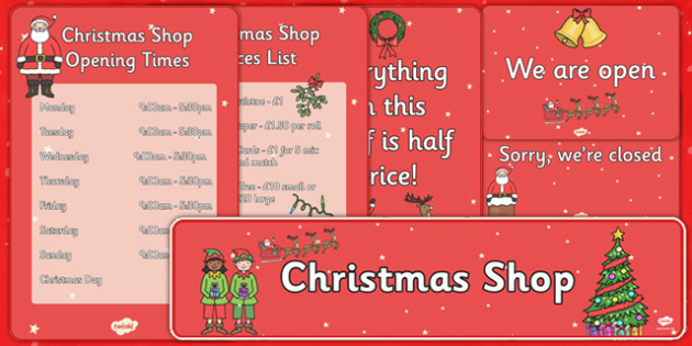 Christmas Shop Role Play Pack - christmas, shop, role play, pack