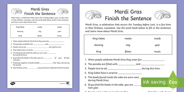 First Grade Mardi Gras Cloze Reading Activity (teacher Made)