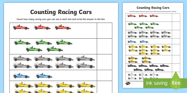 counting racing cars worksheet activity sheet grand prix. Black Bedroom Furniture Sets. Home Design Ideas