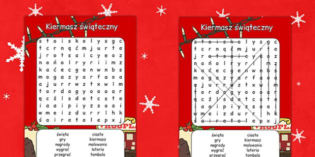 Wyszukiwanka słów Kiermasz świąteczny po polsku - zima, swięta