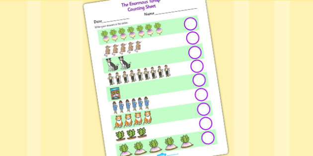 The Enormous Turnip Counting Sheets - 1-1, one to one, counting sheets, counting