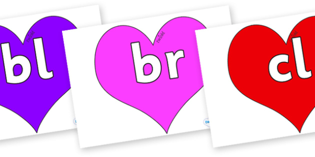 Initial Letter Blends on Hearts (Multicolour) - Initial Letters, initial letter, letter blend, letter blends, consonant, consonants, digraph, trigraph, literacy, alphabet, letters, foundation stage literacy