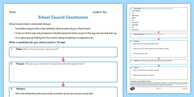 School Council Constitution Writing Frame - school council, constitution, writing frame