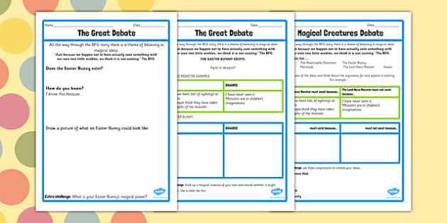 Magical Creatures Debate Worksheet to Support Teaching on The BFG - bfg, debate, worksheet