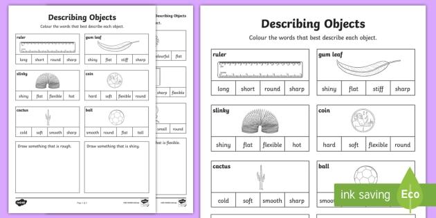Describing Objects Worksheet Activity Sheet Worksheet