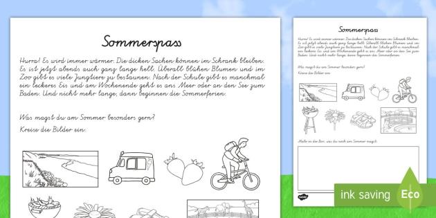 Sommerspass Arbeitsblatt: Lesen und Malen - Sommer