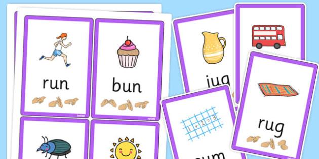 CVC Flash Cards with British Sign Language u - cvc, flashcards