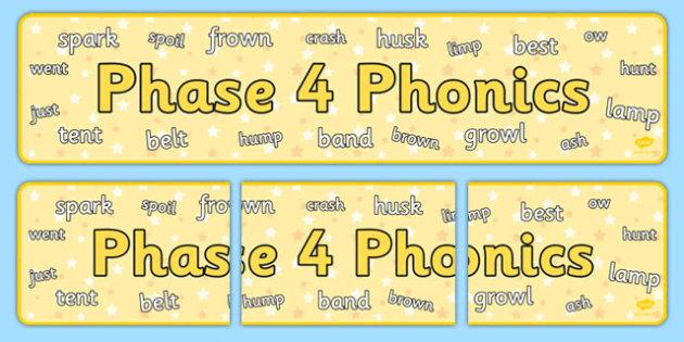 Phase 4 Phonics Display Banner - phase 4, phonics, display banner, display, banner
