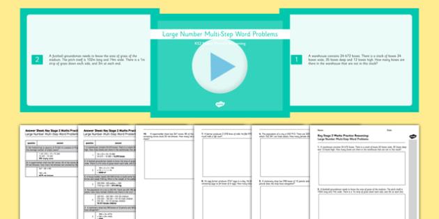 KS2 Reasoning Test Practice Large Number Multi-Step Word Problem Resource Pack - KS2, Key Stage 2, Reasoning, large numbers, multi-step, word problems, multiplication, division, addition, subtraction