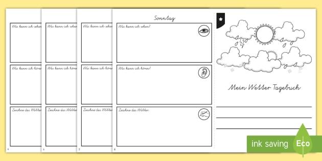 Mein Wetter Tagebuch Aktivität - My Weather Diary Booklet