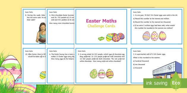 year 5 easter maths challenge cards ks2 easter 2017 16th april maths. Black Bedroom Furniture Sets. Home Design Ideas