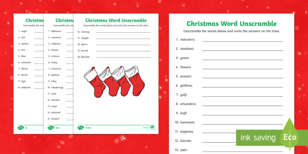 Christmas Differentiated Word Unscramble