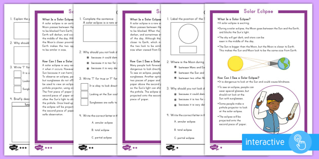 Solar Eclipse Differentiated Comprehension Go Respond Activity Sheets - Solar Eclipse, solar eclipse 2017, earth moon and sun, solar eclipse science