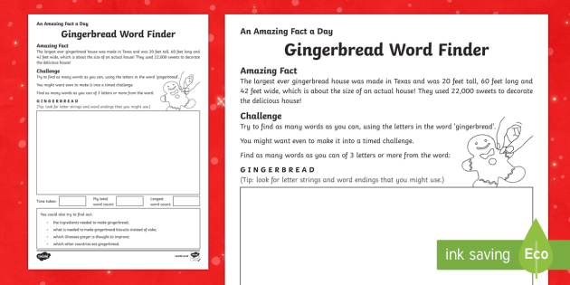 Amazing Fact a Day KS2 Countdown to Christmas Day 19 Gingerbread Wordfinder Activity Sheet - Amazing Fact Of The Day, activity sheets, powerpoint, starter, morning activity, December, Christmas