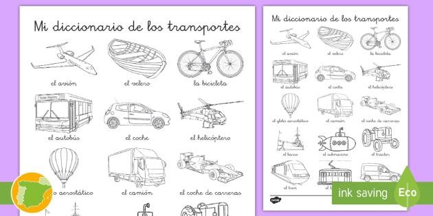 Hoja de colorear de vocabulario: El transporte - transporte
