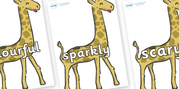Wow Words on Giraffe - Wow words, adjectives, VCOP, describing, Wow, display, poster, wow display, tasty, scary, ugly, beautiful, colourful sharp, bouncy