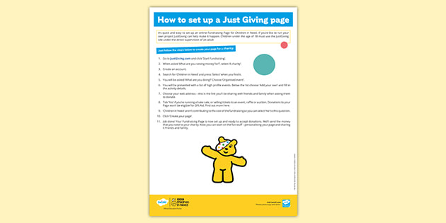 BBC Children in Need How to Set up a JustGiving Page Instructions