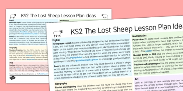 The Lost Sheep Lesson Plan Ideas KS2 - the lost sheep, lesson plan, lesson plan idea, lesson ideas, lesson planning, teaching plan, KS2, key stage 2, ideas