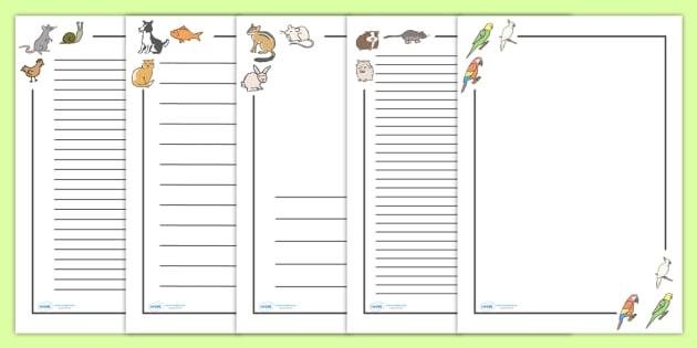 Pets Page Borders - Pets, pet, Page border, border,  KS1, writing Borders, cat, dog, rabbit, mouse, guinea pig, rat, hamster, gerbil, horse, puppy, kitten, snake, chinchilla, snail, lizard, budgie
