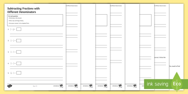 Subtracting Fractions With Different Denominators Differentiated  Subtracting Fractions With Different Denominators Differentiated Worksheet   Worksheets  Operations Addition Subtraction