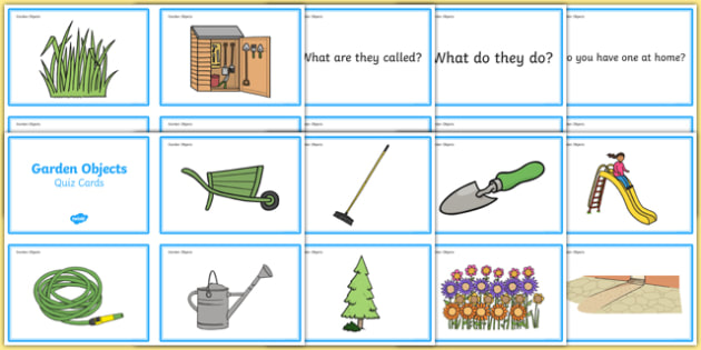 Garden Objects Quiz Cards   ESL Garden Vocabulary