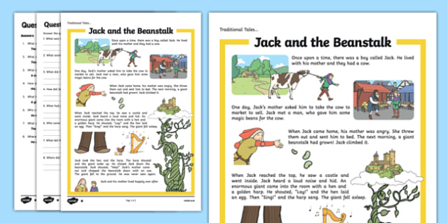 Jack and the Beanstalk Traditional Tales Differentiated Reading Comprehension Activity